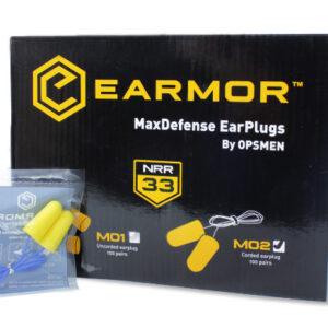 Earmor – Piankowe zatyczki do uszu MaxDefense – M02 – BOX 100 szt.